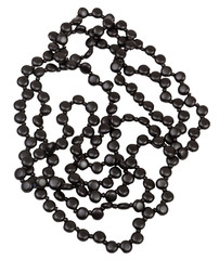tangled necklace from black jet beads isolated