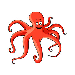 Cartoon red octopus with long tentacles