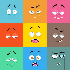 Set of cartoon faces with expression of emotions.