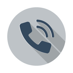 Flat Phone icon with long shadow on grey circle