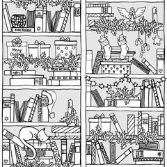 Handgezeichnetes weihnachtliches Bücherregal (seamless pattern)