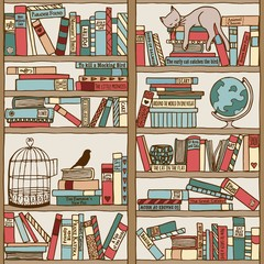Handgezeichnetes Bücherregal (seamless pattern)