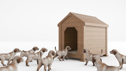 wooden dog's house. concept size dog's house
