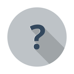 Flat Question Mark icon with long shadow on grey circle