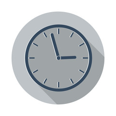 Flat Clock icon with long shadow on grey circle