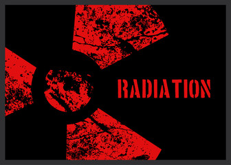 Distressed Red Radiation Symbol Background