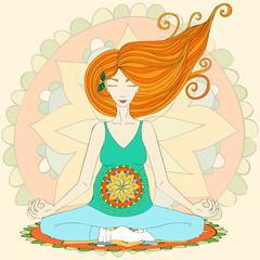 Pregnant redhead woman practicing lotus asana in meditation.