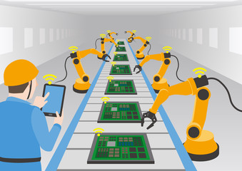 robot hands and conveyor belt, controlled by engineer with Tablet PC, Factory automation, Industry 4.0, Internet of Things, vector illustration
