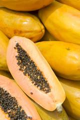 Fresh cut juicy tropical papaya mamao fruit with seeds at Brazilian farmers market in Rio de Janeiro Brazil