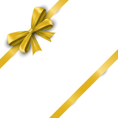 Realistic yellow satin ribbon bow with tails isolated on white background. Vector illustration EPS 10