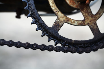dirty bicycle chain.