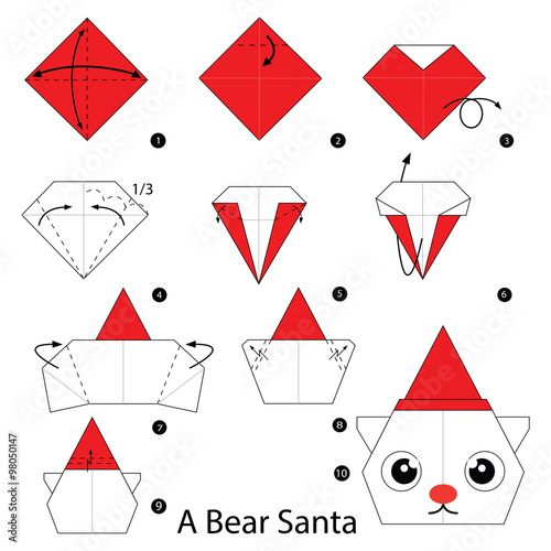 Step By Step Instructions How To Make Origami A Bear Santa Stock