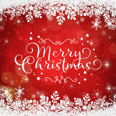 Merry christmas on a red background in a snowy frame