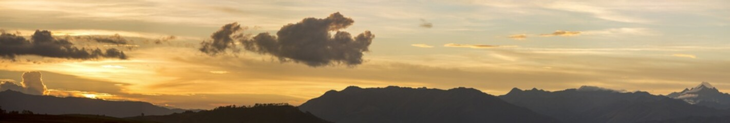 Sunset on the Andean mountains in Cusco, Peru