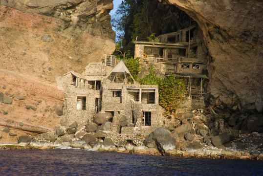 Abandon Art Colony at Adams Bay on thge island of Bequia, Grenadines. Unique tourist destination builted in the 60's, The arch is also refered to as the Moonhole