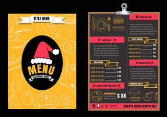 Brochure or poster Restaurant  food christmas menu with Chalkboa