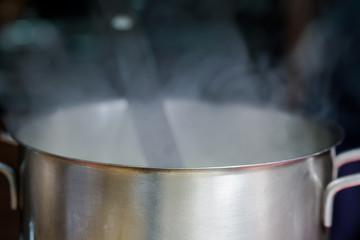 vapor steam from cooking pot