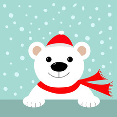 Big white polar bear in santa claus hat and scarf. Merry Christmas Greeting Card. Blue background with snow. Flat design