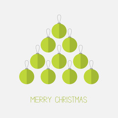 Christmas ball set in shape of triangle fir tree. Merry Christmas. White background. Isolated. Flat design style.