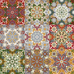 Islamic damask backgrounds colorful set, beautiful ornamentation, fashioned seamless patterns, vector wallpapers, floral wrapping papers, swatch fabrics for decoration and design