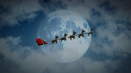 Santa flying on sleigh with reindeer through huge moon behind clouds