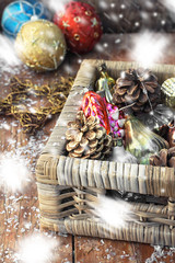Wicker basket with Christmas toys