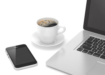 Laptop smartphone and coffee cup on wood table