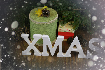 xmas background tree wood ribbon