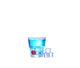blue cocktail with ice and cherry splash on white