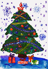 christmas fir tree with snow, watercolor painting on paper