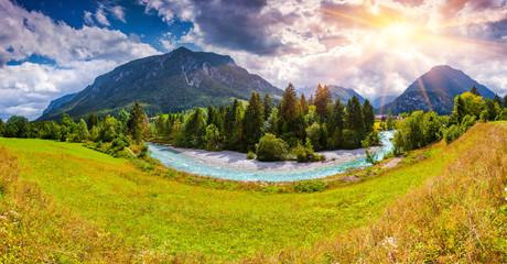 Summer scene of the Triglav mountain range