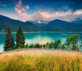 Colorful scene on the lake Sauris in the Dolomites mountains