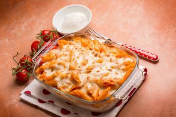 oven pasta pizzaiola with tomato and mozzarella