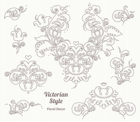 Vector set of vintage vignettes in Victorian style.