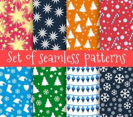 Set of christmas seamless patterns. Symbols of Christmas and win