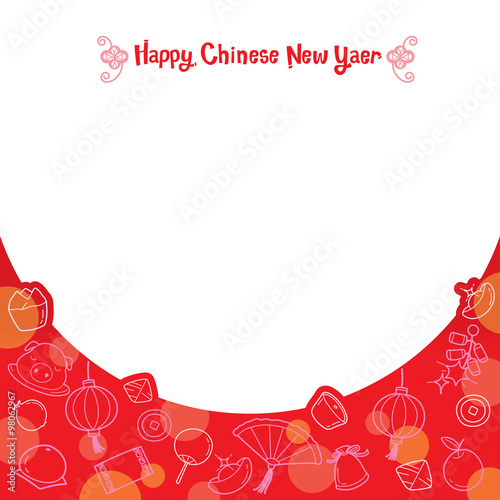 chinese new year frame with icons set traditional celebration china happy chinese new