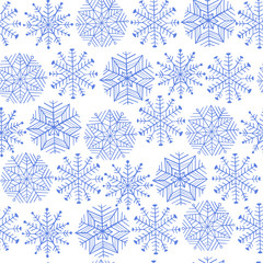 Nice winter snowflake set. Vector seamless pattern.