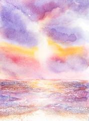 beautiful seascape watercolor painted