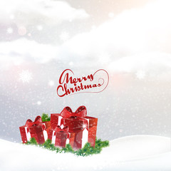 Christmas landscape background with giftbox, vector illustration, eps 10