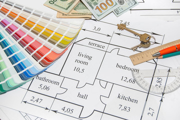 architectural drawings, palette of colors designs, drawing tools