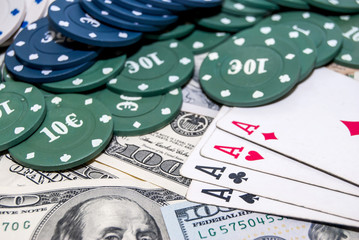 poker cards, american money, poker chips. business concept