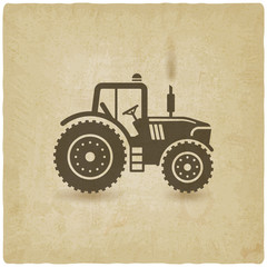 tractor silhouette old background