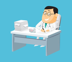 The best medical health care. Funny doctors private practice. Health Center. Vaccination. Cartoon isolated vector illustration.