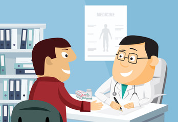 Cartoon doctor and patient. Examination by a doctor. Prescription drugs. Vitamins and antibiotics. Funny vector flat simple illustration.