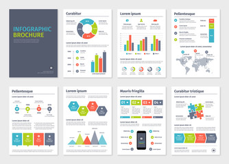 Business A4 brochures with infographic vector elements.