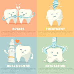 Oral hygiene banners with cute tooth. Vector illustration.