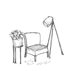 Intrior with chair and lamp