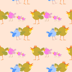 Abstract background, seamless pattern, bird family with green, blue and violet birds on pink, happy and dreamy