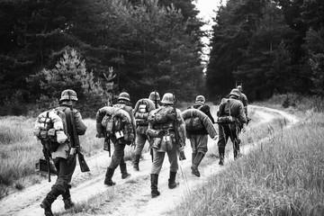 Unidentified re-enactors dressed as World War II German soldiers