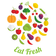 Eat fresh label with fruit and vegetable